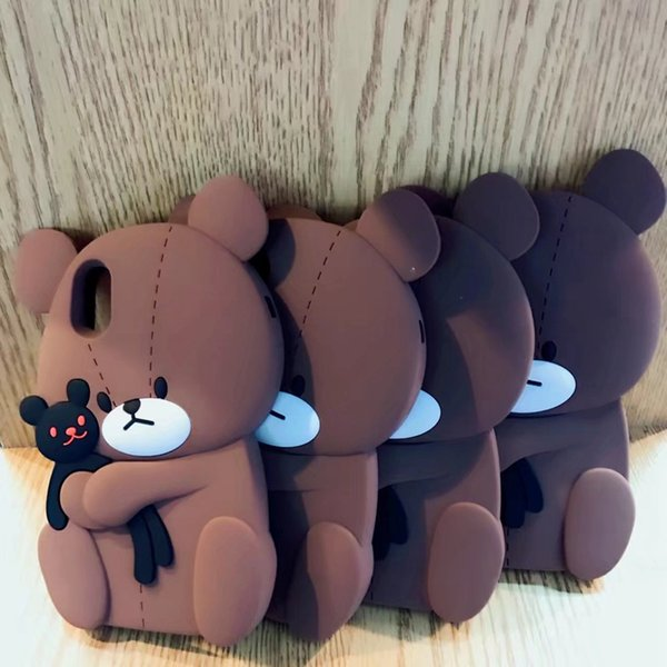3D Teddy Bear Case For Iphone XS X 8 7 Plus 6 6S 6 Plus Soft Silicone Fashion Cute Lovely Brown Cartoon Rubber Black Cover Skin Hot New