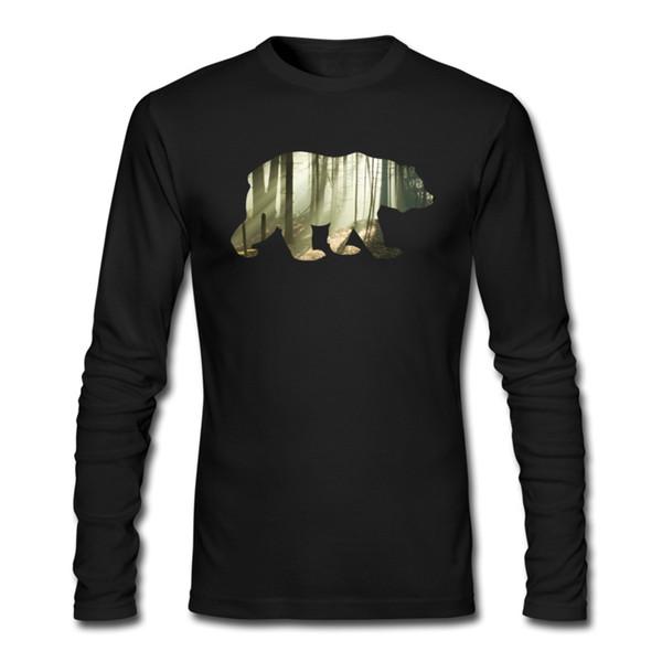 Großhandel Classic Mens Cotton Lange T Shirts Runder Kragen Bär Berge Herren Weiß Schwarz Langarm T Shirt Große Größe Benutzerdefinierte Lange T