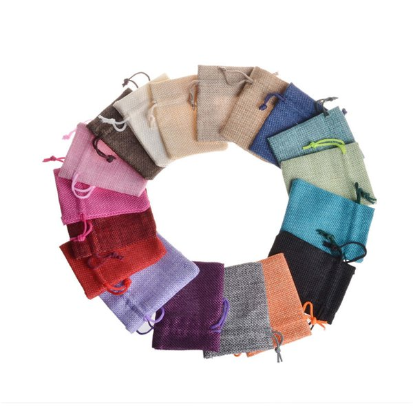 best selling Multi Colors 9x12cm 7x9cm Mini Pouch Jute Bag Linen Hemp Small Drawstring Bags Ring Necklace Jewelry Pouches Wedding Favors Gift Packaging