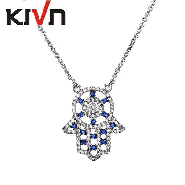 Fashion Zircon Cubique Hamsa Fatima Main Mauvais œil Perles Bracelet Charm Tibétain Bijoux Cadeau