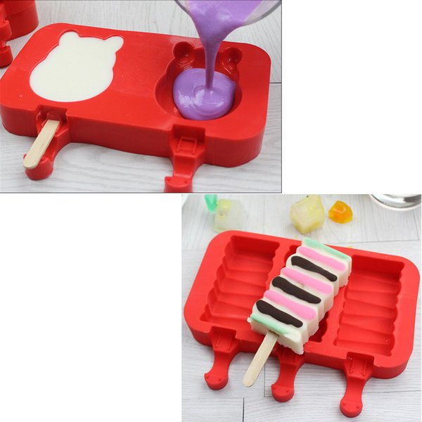11 Style Cartoon DIY Silicone Ice Cream Mold Popsicle Molds Popsicle Maker Holder Frozen Ice Mould Kitchen Tools