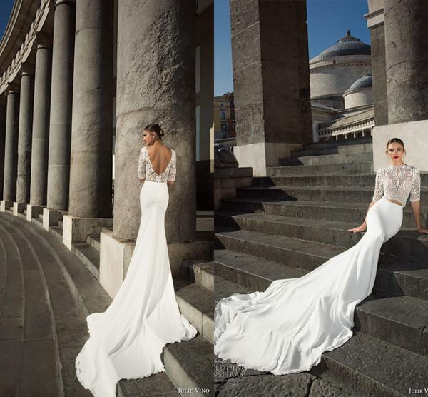 Custom Made robes de mariée sirène glamour 2017 Dentelle Illusion Demi manches à col haut Robes de mariée Sexy Backless en mousseline de soie Robe de mariée