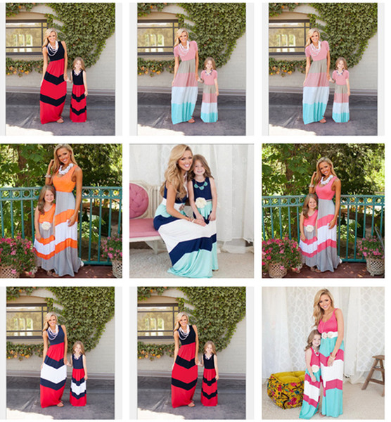 best selling Mother And Daughter Dresses Summer Navy Style Striped Long Dress Fashion Mom And Baby Clothing Sleeveless Vest Stitching Dress LC589