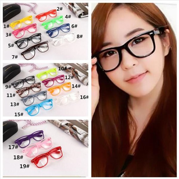 top popular 1000pcs 19 candy colors Unisex sunglasses Rivet Sunglasses Retro Color Unisex Punk Geek Style Clear Lens Glasses R053 2019