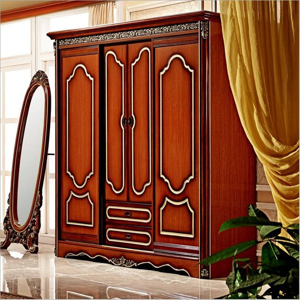 hot selling new arrival four door wardrobe antique European whole wardrobe French bedroom furniture wardrobe pfy10001