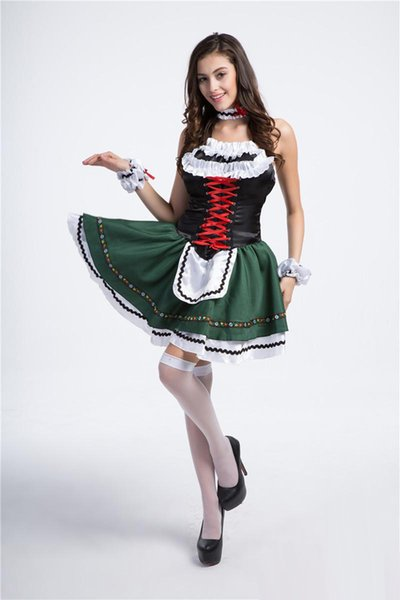 2017 New multi-Size Maid Dress 10Pcs/Lot Oktoberfest Beer Girl Sexy Cosplay Halloween Costumes Club Performance Clothing Hot Selling