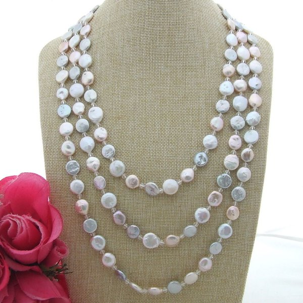S100702 80'' 12mm Multi Color Coin Pearl White Crystal Necklace