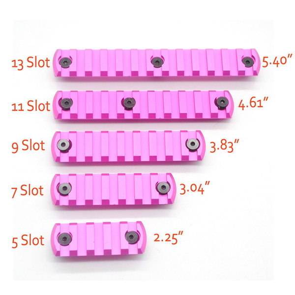 Aluminum Pink Anodized 5,7,9,11,13 Slots Picatinny/Weaver Rail Sections for Key Mod Handguards System Free Shipping