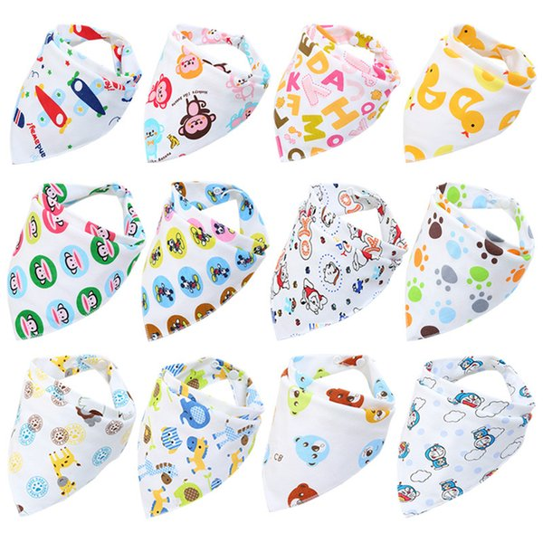 28 Styles Baby Bibs Cute Cotton Double Layer Newborn Triangle Scarf Cloths Bandana Infant Saliva Bavoir Towel Cartoon Printing Bibs ins Hot