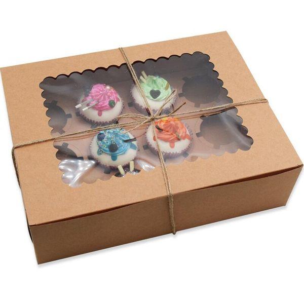 10pcs/lot Window Cupcake Box with Insert Fits 12 Standard Size Cupcakes Clay Coated Kraft Paperboard, Insert Lock Corner Window Bakery Boxs