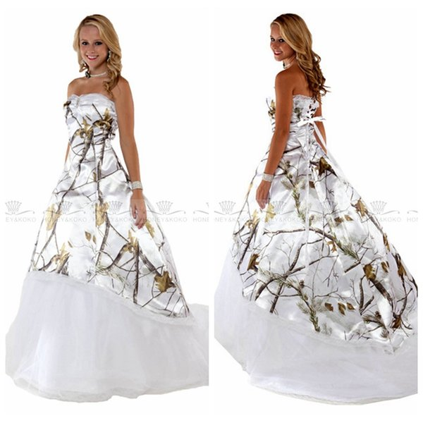 Discount White Real Tree Camo Wedding Dresses 2017 New Camouflage ...