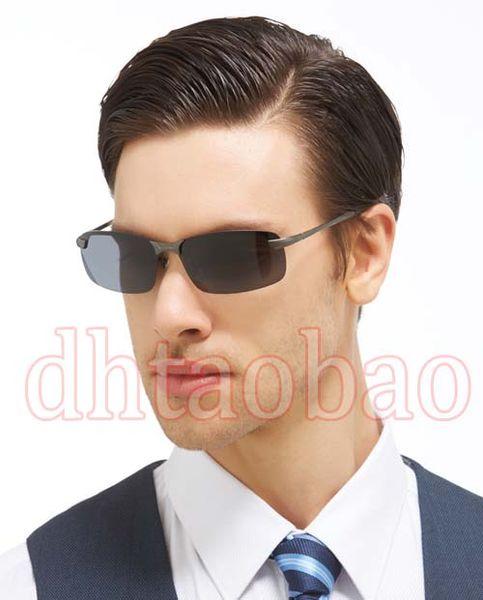 Moq=10 pcs 2017 New Summer Men Fashion HD Polarized Metal Dazzling Semi-Rimless Sunglasses Driving Glasses UV400 4 Colors Free Shipping