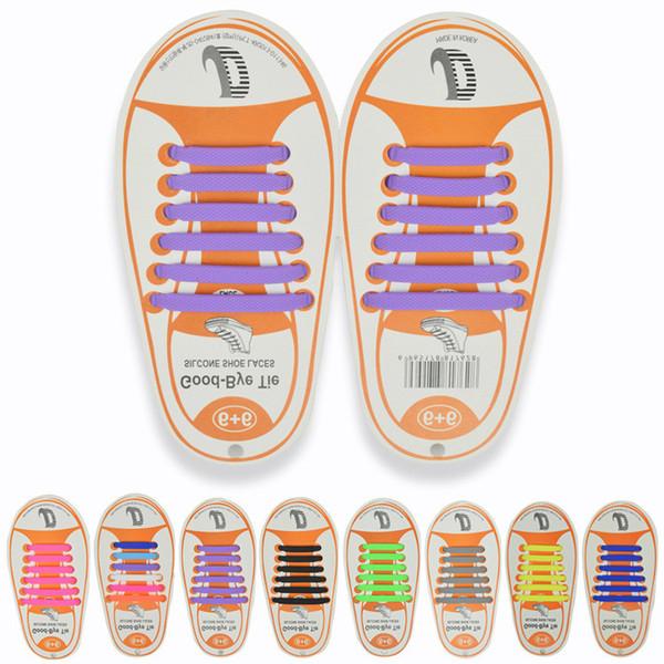 13colors Enfants Aucun lacet Caoutchouc Élastique Lacet Enfants Sneaker Chaussure Lacets De Course Athlétique Lacets 12pcs / lot