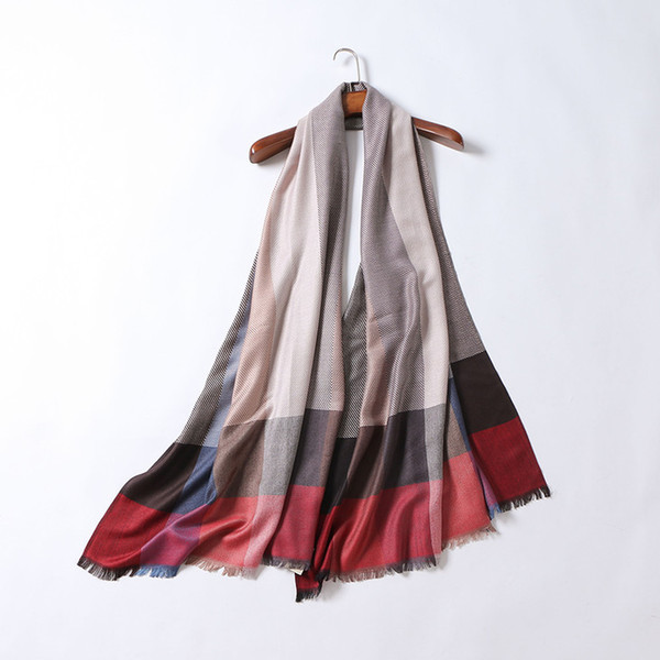 Wholesale-Autumn 2016 western famous fashion brand women scarf plaid lady silk cashmere scarves luxury designer classical shawl scarves