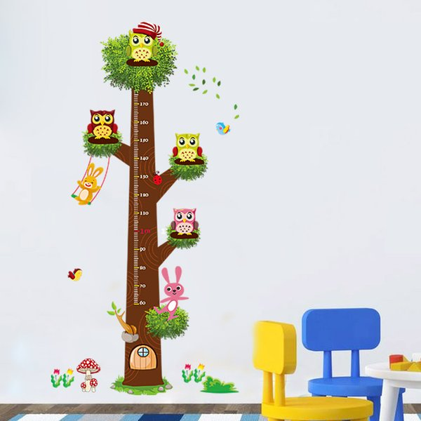 aw3019 Cartoon Owl Animal Measurement of Height Wall Stickers Nursery Kids Room Decor Mural Decal Growth Chart Ruler Stadiometer
