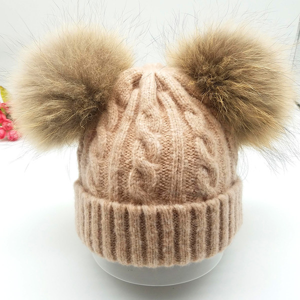 Winter Cute Kids Mink Real Fur Double Pom Pom Knitted Beanie Hat Warm Bonnet Solid Skullies Caps For Children