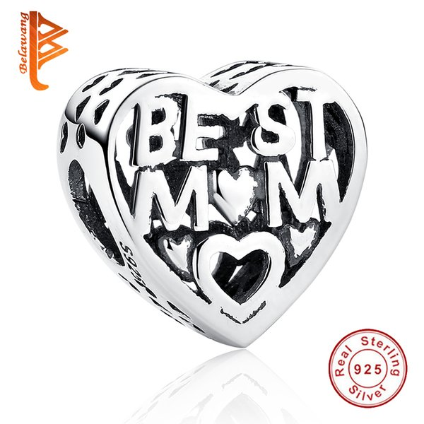 BELAWANG para Mother'Day Gift 925 Sterling Silver Beads con BEST MOTHER Heart Charm Fit Pandora Charm Bracelet For Women Accessories Jewelry