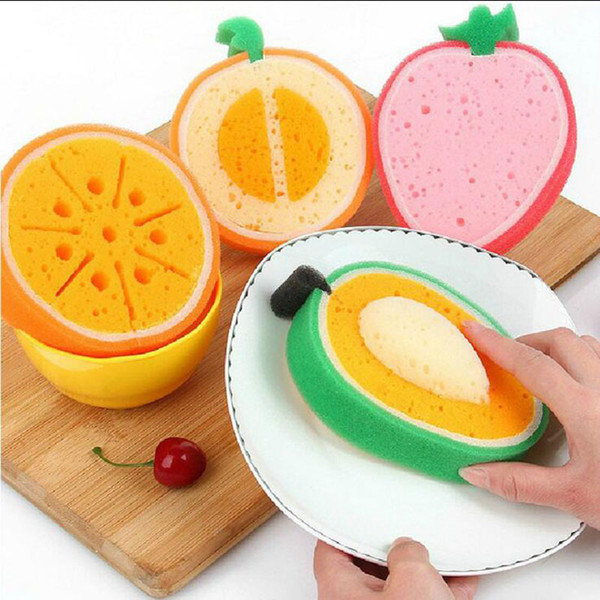 Lovely Fruit Shape Sponge Scouring Pad Dish Cloth Thicken Strong Stain Removal Kitchen Cleaning Tools 12*3.5cm