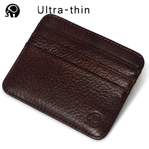 Wholesale- 100% Genuine Leather Small Mini Ultra-thin Wallets men Compact wallet Handmade Design wallet Cowhide Card Holder Short