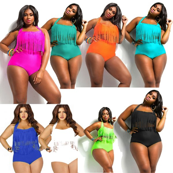 2019 Newest Summer 10 Colors Plus Size Tassels Bikinis High Waist Sexy Women Bikini Swimwear Padded Boho Fringe Swimsuit XXXL free shipping