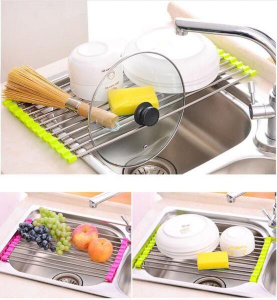 Kitchen Sink Dish Rack Drainer 37 x 23CM Stainless Steel Silicone Non-slip Folding Drying Rack Holder For Bowl Fruit Vegetable 12Pcs Sticks