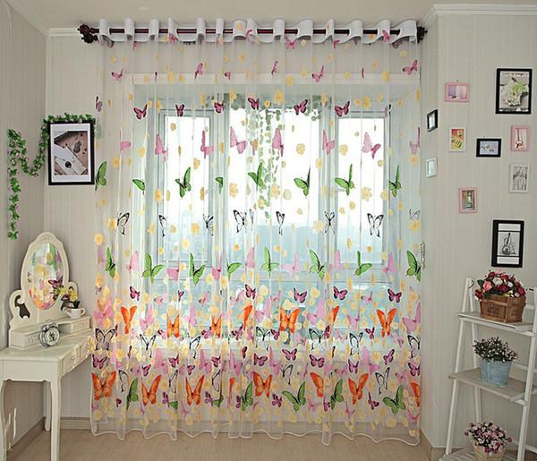 Großhandel Schmetterling Küche Vorhänge Tüll Für Balkon Panel Bildschirm  Gardinen Für Wohnzimmer Schlafzimmer Fenster Gestickte Römische Vorhang ...