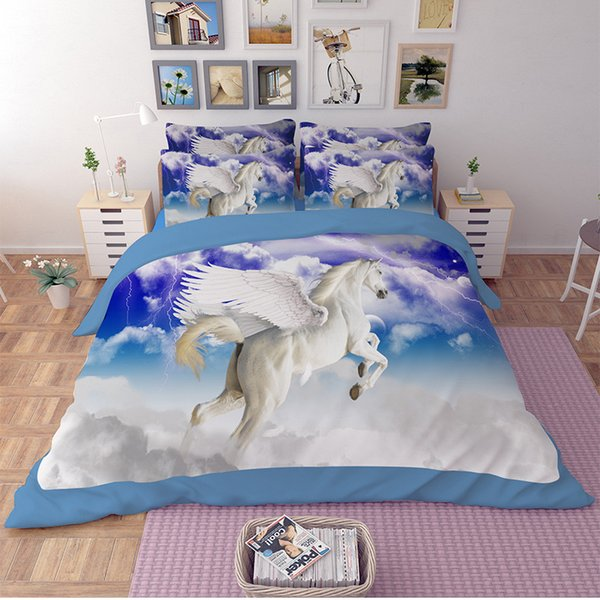 Twin Full Queen King size Animal 3D 3D Horse Bedding sets bed ...