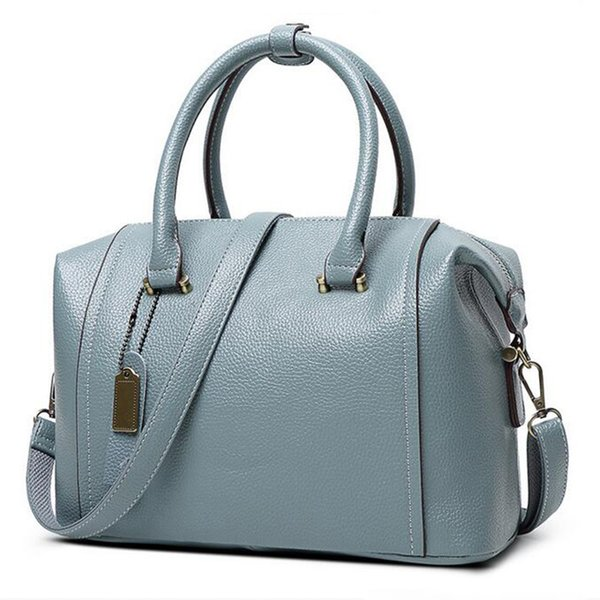 Wholesale- Blue PU Genuin Leather Women's Bag 2016 New European Boston Handbag Women Messenger Bag Women Tote bolsa bolsos mujer Red FR086