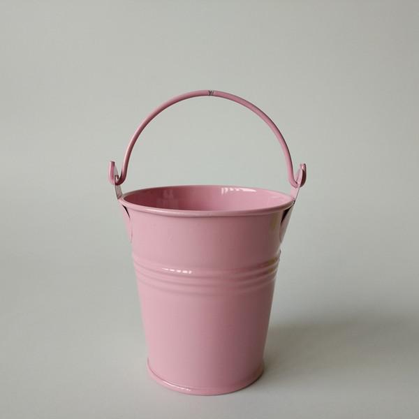 D7xH7CM pink Metal mini Pail Tin bucket Rustic Succlents Pots Decorative Galvanized Meat plant pot Iron pots