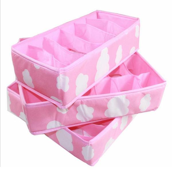 3 en 1 Rosa Cajas de Almacenamiento Organizador para Sujetador de Ropa Interior Armario Plegable Cajón Divisor Capas para Corbatas Calcetines Sujetador de la Ropa Interior Organizador
