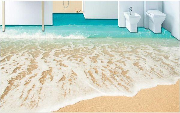 top popular Customized 3d flooring Beach seaside photo wallpaper 3d stereoscopic 3d floor tiles self adhesive wallpaper 2021
