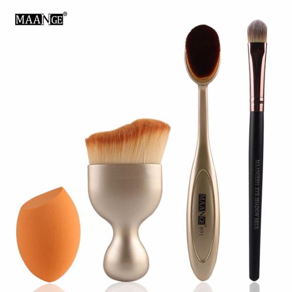 4pcs/set Makeup Brush Set Toothbrush Type Foundation Brush Oblique Sponges Eye Shadow Brush S-Type Blush Beauty Tools Free Shipp