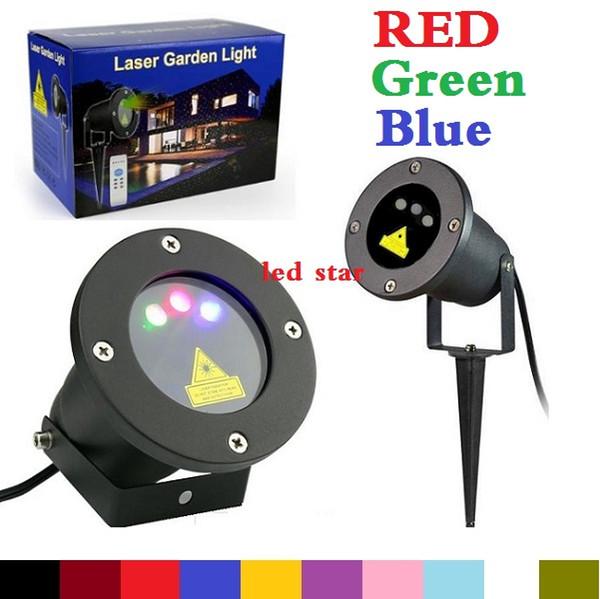 Proyector LED al aire libre con luces láser (rojo + verde + azul) Firefly christmas luz láser proyector para jardín AC 110-240V + control remoto
