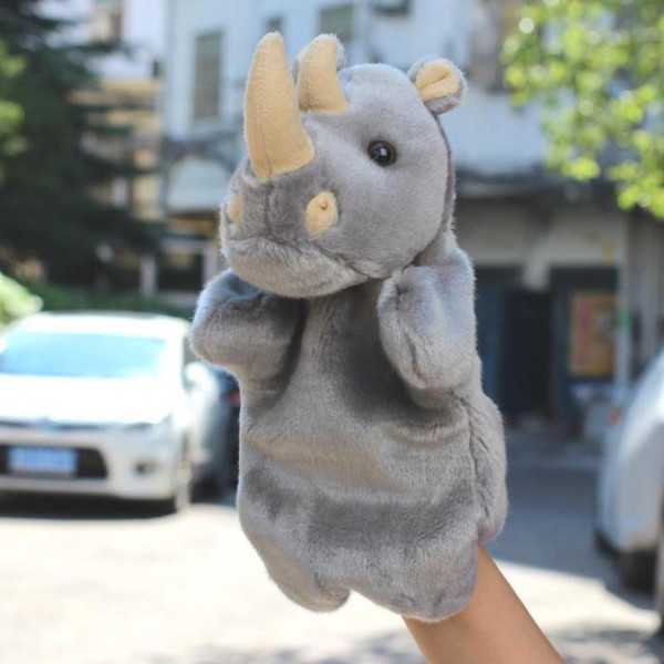 top popular Stuffed Toys Plush Puppet Cute Rhinoceros Hand Puppet Animal Plush Doll Toys For Kids Baby Birthday Christmas Gifts 2021