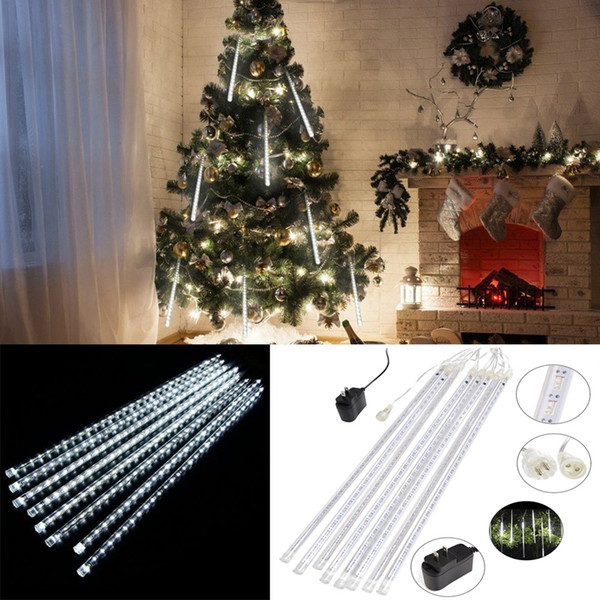 Edison2011 8pcs/Set Snowfall Tube 20/30/50CM Meteor Rain Led Tube Light Waterproof LED Christmas Lights for Christmas Decoration Outdoor