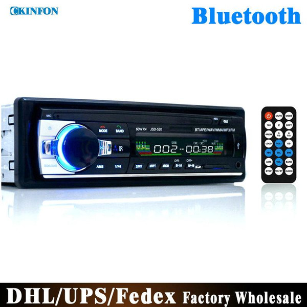 top popular DHL Fedex 10pcs lot Car Radio Stereo Player Bluetooth Phone AUX-IN MP3 FM USB 1 Din Remote Control 12V Car Audio Auto JSD520 2019