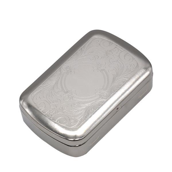 Мини-размер классический металлический серебряный цвет двухсторонний Король портсигар травления дизайн портсигар бумажный футляр для хранения