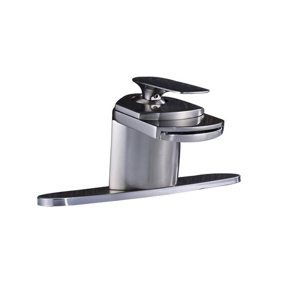"Brushed Nickel Waterfall Bathroom Basin Faucet Vanity Mixer Tap With 10""Plate"