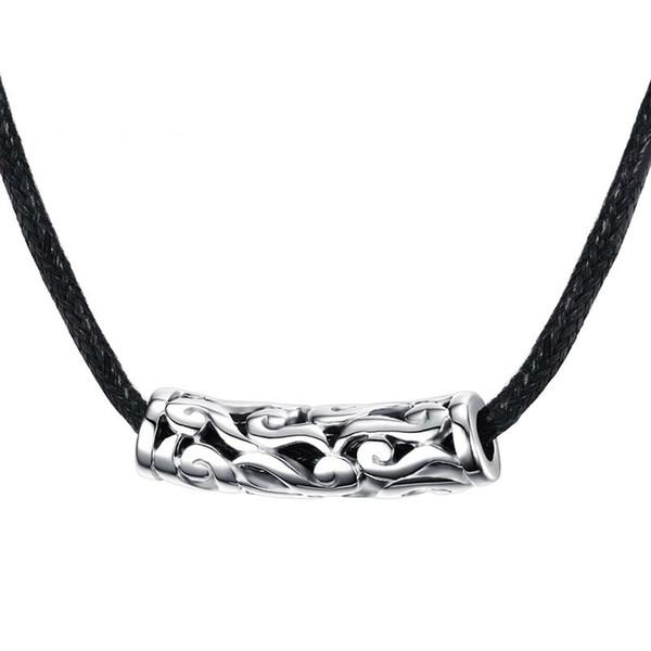 Мужские женские колье ожерелья полые из нержавеющей стали плетеный черный шнур веревки цепи ожерелье старинные ювелирные изделия NC-217
