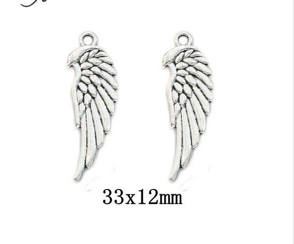 200pcs Tibetan Silver Plated double sided Angel Wings Charms Pendants for Jewelry Making DIY Craft 33*12mm