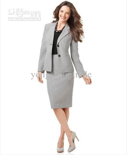 Light Gray Women Suit Skirt Suit Women Clothes Tailored Suit Accept Custom Made