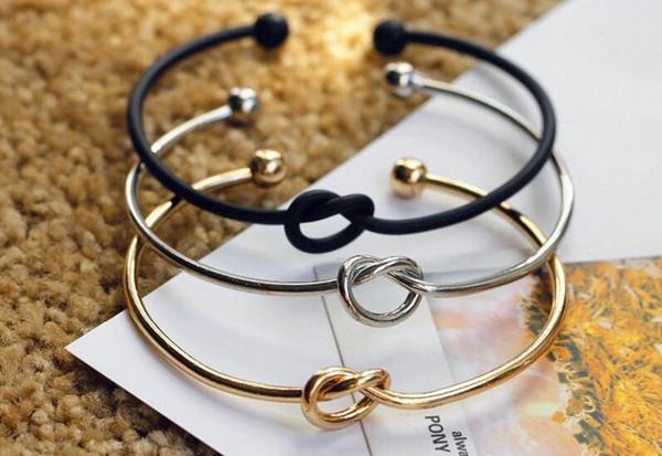 Fashion Jewelry Women 4Pcs feuille nœud simple réglable Ouvert Bangle Bracelet en or