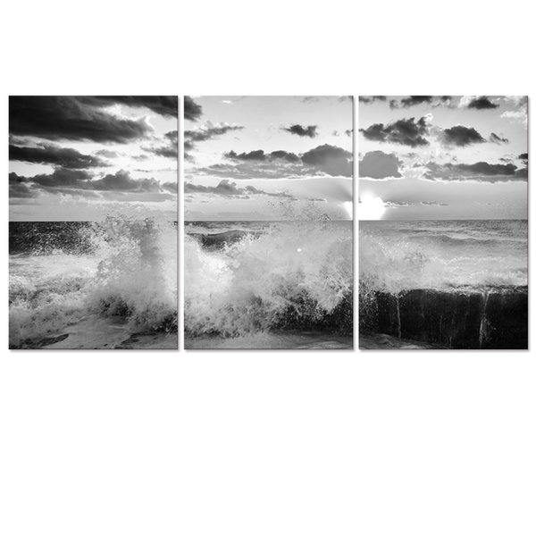 """Spindrift Black and White Picture Canvas Printing Artwork Seascape Canvas Print Modern Home Wall Decoration (16""""x24""""x3)"""
