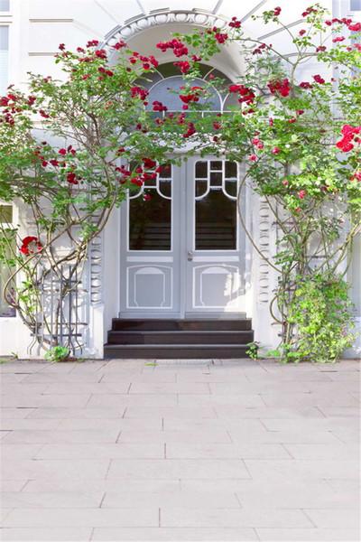 Im Freien Haus-weiße Türen romantische Hochzeits-Fotografie-Hintergründe rote Rose-Reben-Treppen-Studio-Fotoaufnahme-Hintergrund