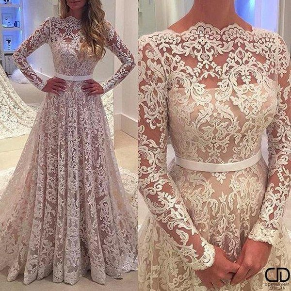 2017 New Robe De Soiree Full Lace Backless A-line Wedding Dresses Long Sleeves Backless Bateau Neck Chapel Train Bridal Gowns with Belt