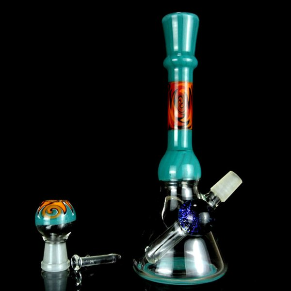 Colorful Water Bongs Heady Oil Rigs Glass Bong Beaker Base with Colorful Glass Dome 14mm Female Joint