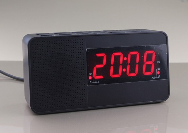 Wholesale-1.2 Inch LED clock Digital Alarm Fm radio Dual alarm clock input voltage 100-240V fit for any country use EU PLUG