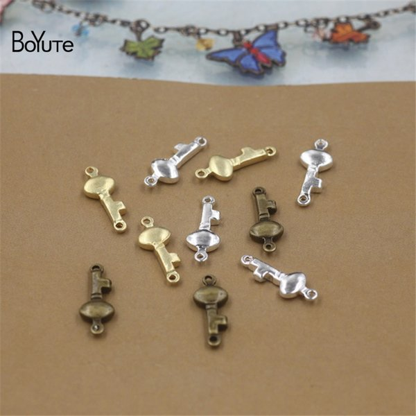 BoYuTe 100Pcs 16*6MM HOT Sale Metal Brass Key shape Bracelet Connector Charms DIY Jewelry Findings Components