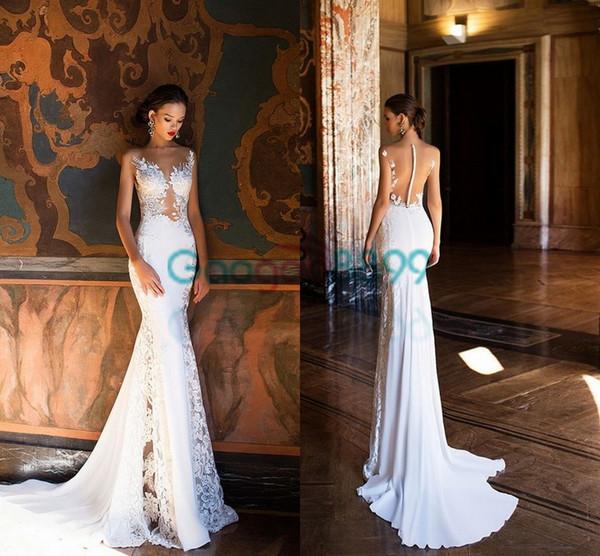 Milla Nova 2017 Spring Lace Chiffon Mermaid Beach Wedding Dresses illusion Back Elegant Beach Bridal Gowns with Covered Button Cheap