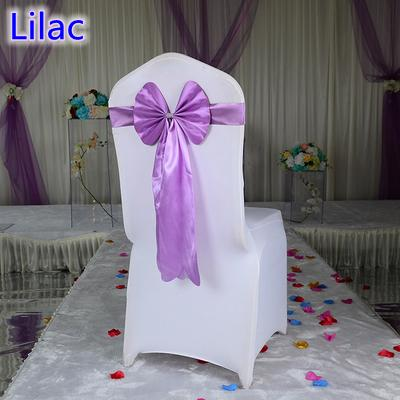Lilac violet colour chair sash long tail butterfly style wedding chair decoration luxury chair bow tie wholesale lycra spandex sash